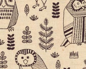 Owls - Natural Canvas Linen Blend Fabric from Kokka