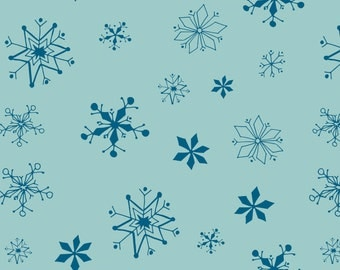 Winter Wonderland - Snowflakes Rainwater Aqua by Heather Rosas from Camelot Cottons