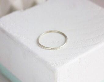Hammered Stackable Sterling Silver Ring (Slim)
