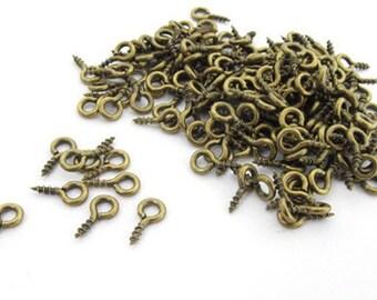 [MAT0035] 100 x Eyebolts bolt hole screw eye bolts rings 7 mm mini bronze