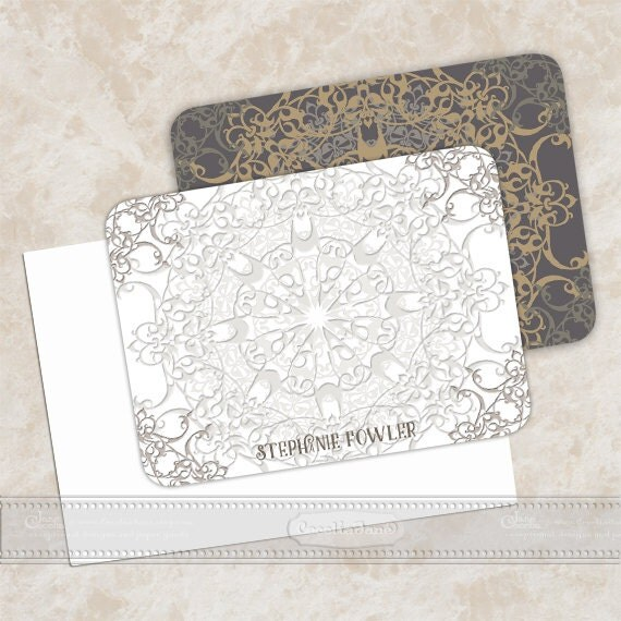 personalized notecards, notecard set, thank you cards, girlfriend gift, personalized stationery, silver notecard sets, NS130
