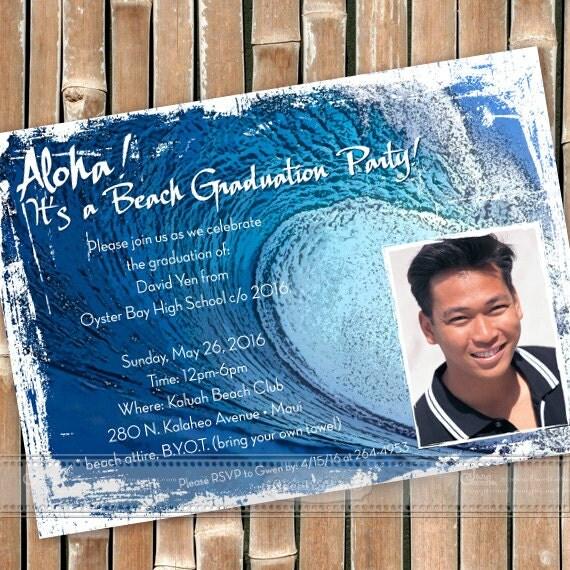 big wave invitations, graduation invitations, surf grad party invitations, beach party, island wedding ceremony, big island wedding, IN296