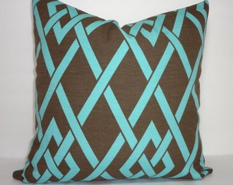 OUTDOOR Pillow Cover Brown Aqua Blue Lattice Geometric Deck Patio Pillow Cover 18X18