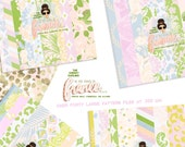 Pastel  Floral Glitter Patterns Digital Paper files for Small Printed CU  Custom retro