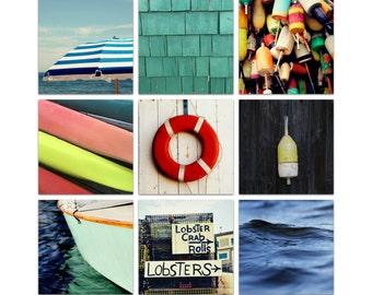 maine photography // nautical decor // beach art set // - Maine Summer,  set of nine nautical art prints