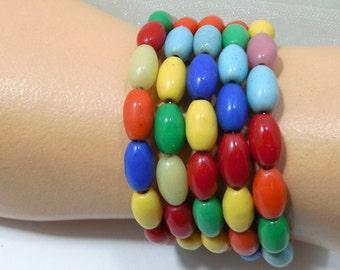 Vintage Bohemian Beads RePurposed/Memory Wrap Bracelet/Oval Glass Czech Beads/Vagabond-Gypsy Bracelets, Stack Em Bracelets, BRACELETS 4 You