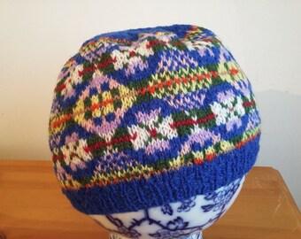 Handknitted Fair Isle shetland hat,beanie, tam, beret. treking,walking,skiing,winter,fishing,camping,outdoors,adventure,boating