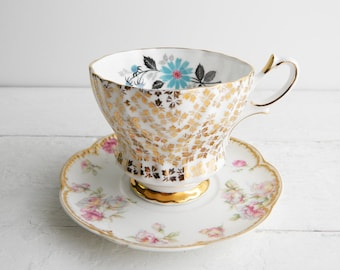 Vintage Gold Mismatched Tea Cup & Saucer - Queen Anne Teacup Gold Chintz and Haviland Schleiger Limoges Plate