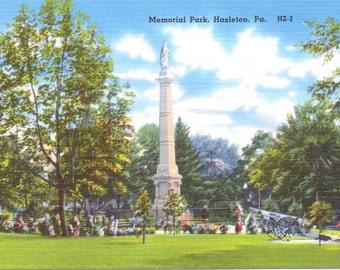 Hazleton, Pennsylvania, Memorial Park - Linen Postcard - Unused (A5)