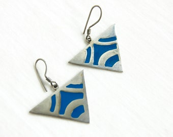 Triangle Dangle Earrings Vintage Mexican Geometric Blue Resin and Alpaca Statement Dangles Modern Triangles