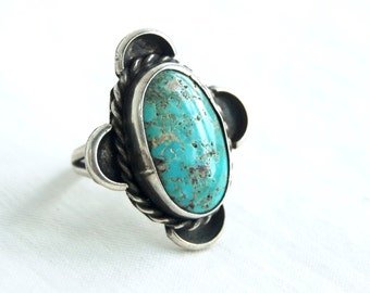 Large Turquoise Ring Size 5 .5 Vintage Native American Southwestern Statement Chunky Jewelry Oval Cocktail Ring