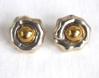Silver and Gold Earrings Vintag Mexican Sterling Silver and Brass Posts Studs Mixed Metal Taxco Mexico Jewelry Abstract Flowers