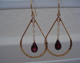 Gorgeous Garnet and Gold Teardrop Chandelier Earrings