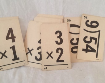 Mid Century Flash Cards School Multiplication and Division