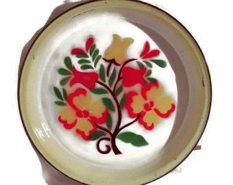 Valentine SALE Large vintage enamel platter or tray, tulip floral design