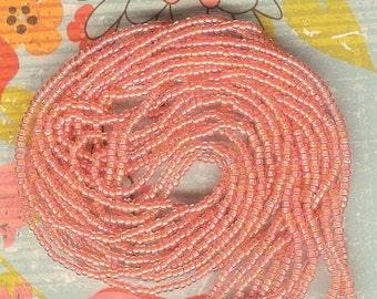 11/0 Seed Bead Peach Ceylon AB-18 gram hank, #11 Peach AB Seed Beads, Peach Seed Bead, Seed Bead Weaving, Size 11 Seed Bead, Orange, Peach