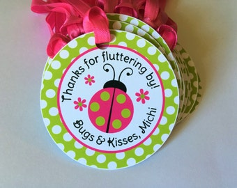 12 Ladybug Birthday Party Favor Tags in Pink and Green