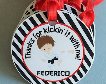Karate Birthday Party Personalized Favor Tags, Thank You Tags, Treat Tags, Goody Bags,  Party Favors, Party Decorations, Set of 12