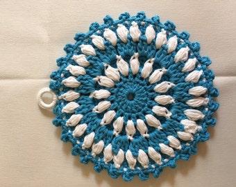 Blue and White Potholder