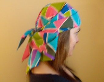 Head Scarf Kerchief Vintage 1960s Colorful Scarf Head Wrap