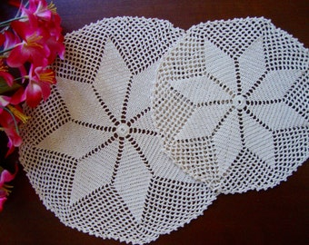 Crocheted Round Doilies Set of Two Hand Crocheted Doilies Star Pattern Vintage