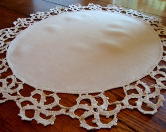 French Linen Doily Antique Centerpiece Doily with Crochet Trim Table Topper Table Linens Doilies