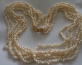 Vintage Seed Freshwater Pearl Six Row Necklace GORGEOUS