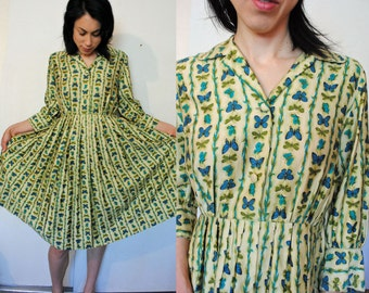 50s 60s vintage butterfly print day dress