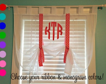 Monogrammed Sheer Roman Shade Valance with Ribbon Ties