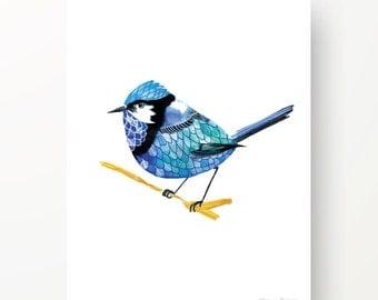 blue bird Watercolour print-Fairy wren