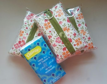 SALE! Set of 3 Travel Tissue Holder - Tissue Holder - Fabric Tissue Case -Flower Print. Does come with tissues.