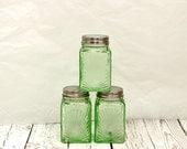 Green Glass Spice Jars, Art Deco Spice Jars, Lidded Green Glass Jars, Vintage Spice Jars, Little Green Glass Jars, Art Deco Jars,