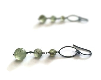 Aragonite Earrings - Oxidized Sterling Silver Jewellery - Green Gemstone Jewelry - Dangle - Fashion