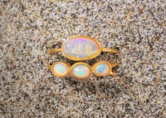 Opal wedding engagement ring set 18k solid gold