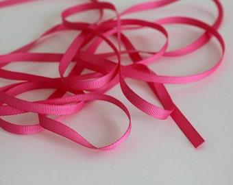 """1/4"""" Grosgrain Ribbon -  Hot Pink - 10 yards"""