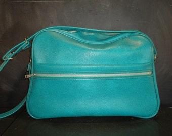 Large Vintage Soft Sided Carry On Tote Travel Bag Case Turquoise Shoulder Strap