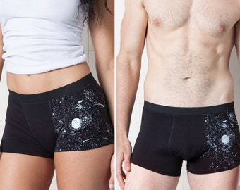 His and Hers Trunk Set - Glow-in-the-Dark Solar System Underwear
