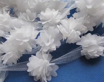 """1 yard 1.75"""" Chiffon Flowers Lace Trim-White CH014-2"""