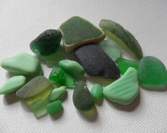 Green sea glass, milk beach glass & pottery mix - Lovely English beach find pieces