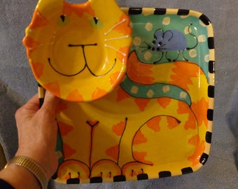 Orange Tabby Cat Chip and Dip Serving Tray Ready to Ship