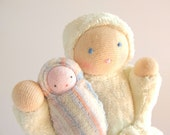 Waldorf  toy doll natural fiber pocket mother baby tooth fairy white PMW1