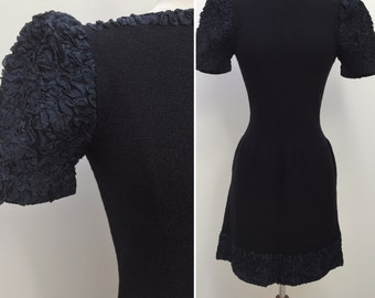 Vintage 1960s 1970s Adolfo Black Knit Dress with Ribbon Trim