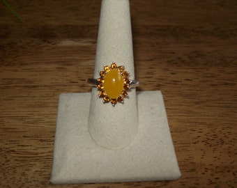Sterling Silver Amber & CZ ring- Size 8 3/4