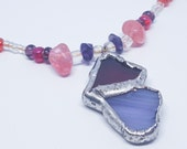 """OOAK Stained Glass Paired Hearts 1 1/4"""" Pendant with Glass and Seed Bead 17"""" Necklace"""