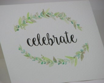 OOAK Handpainted Celebrations Green Wreath Celebration Greeting Card