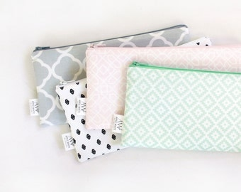 Zipper Pouch, Pencil Pouch, Pencil Case, Pink, Mint, Gray, Back To School, School Supplies, Women, Teens, Kids, Organize, Cosmetics Bag, Bag