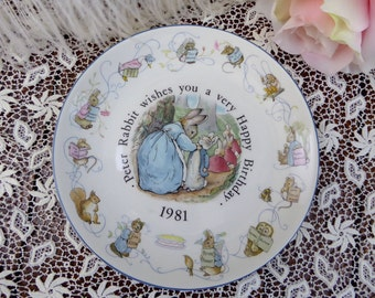 Wedgwood Peter Rabbit 1981 Birthday Plate, Beatrix Potter Peter Rabbit 1981 Birthday
