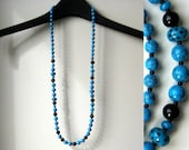 Blue and black necklace |  dotted lampwork beads | long string | topaz blue