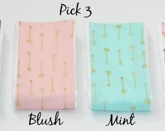 NEW - Baby Burp Cloths - Set of 3 - Your Choice of Three Arrow Themed Burp Cloths