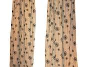 SALE Dandelion Curtains- Pair of Drapery Panels- Premier Prints Denton Black Beige Curtains- 25 or 50W Floral Drapes- Burlap Window Treatmen